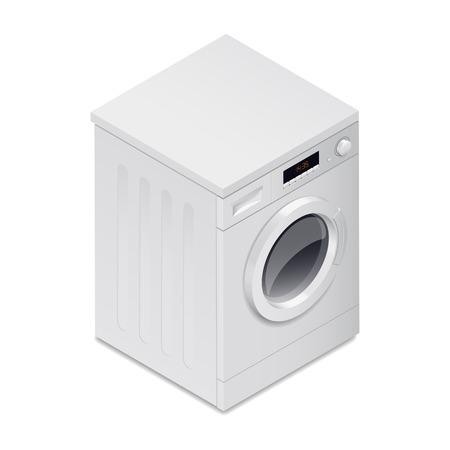 auto washing: Washing mashine detailed isometric icon vector graphic illustration