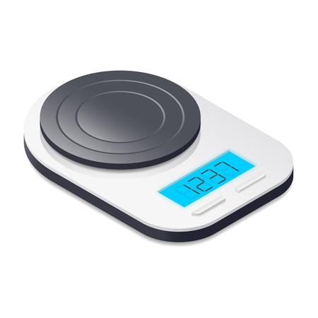 realictic: Kitchen scales isometric icon vector graphic illustration