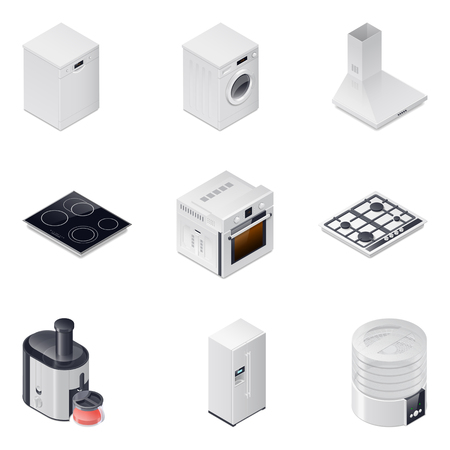aspirator: Household appliances detailed isometric icons set vector graphic illustration, part 1