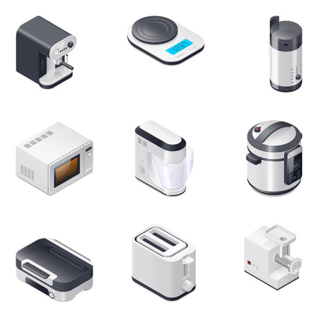 realictic: Household appliances detailed isometric icons set vector graphic illustration, part 2