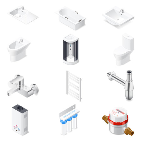 siphon: Sanitaru engineering detailed isometric icon set vector graphic illustration
