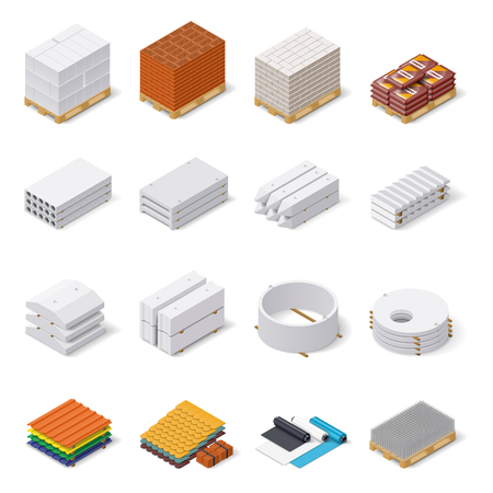Construction materials isometric icon set, concrete products, bricks, aerated concrete blocks, roofing and insulating materials, vector graphic illustration