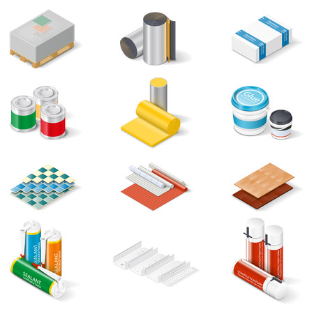 insulation: Decoration and insulation materials isometric icon set, materials walls and ceilings, flooring, insulation and building mixes, vector graphic illustration
