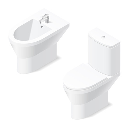 bidet: Toilet and bidet isometric icon vector grasphic illustration