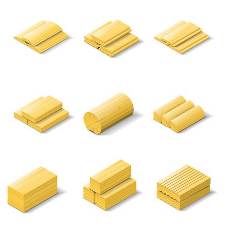 Madera isométrica icono detallado conjunto de vectores ilustración gráfica
