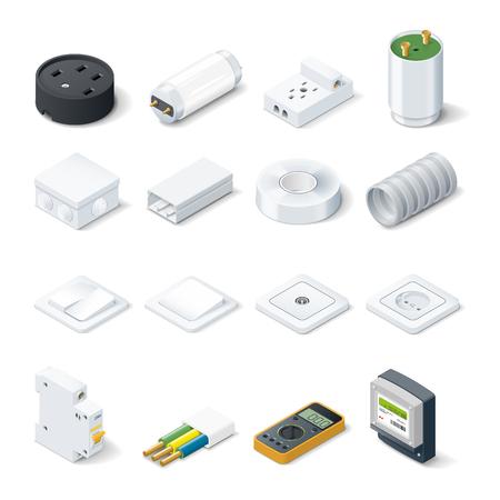 홈 전기 아이소 메트릭 아이콘 설정 벡터 그래픽 그림