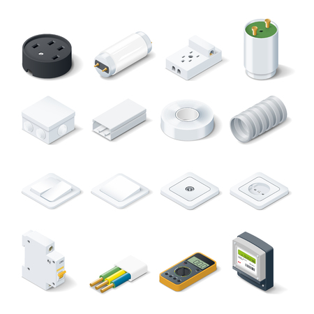 electric meter: Home electric isometric icon set vector graphic illustration