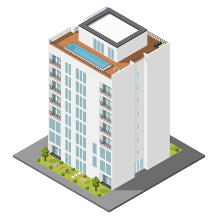 Residential house with a private garden and penthouse apartments isometric icon set vector graphic illustration Vettoriali