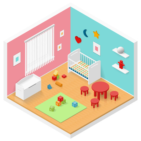 Child playroom isometric icon set vector graphic illustration design Ilustrace