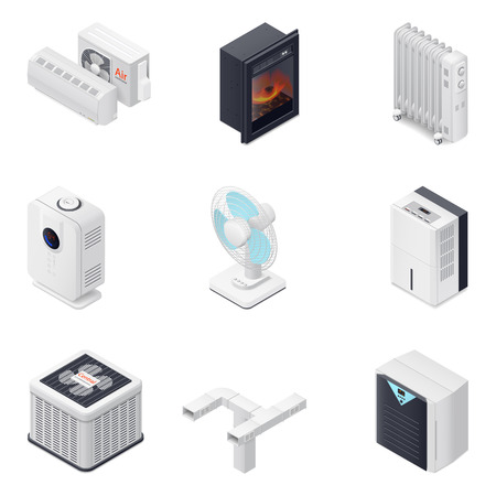 Home climate equipment isometric icon set, heating, cooling, purification, dehumidification and humidification