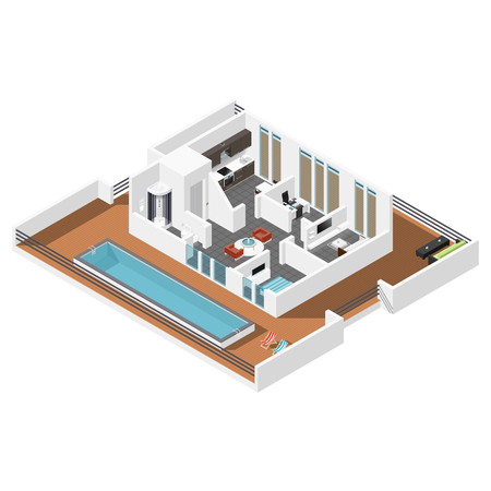 carpet flooring: Penthouse apartment isometric icon set vector graphic illustration design