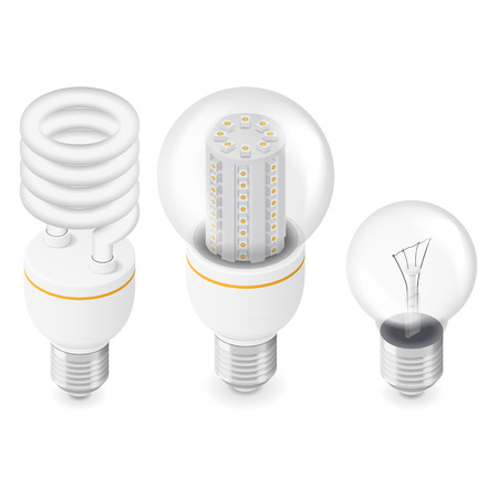 electric bulb: Electric light bulbs isometric icon set vector graphic illustration Illustration