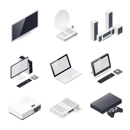 Home entertainment-apparaten isometrisch pictogram vector grafische illustratie Stock Illustratie