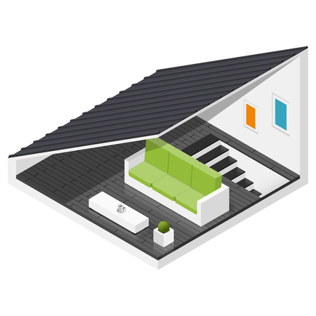 mansard: Attic of a private house isometric icon set vector graphic illustration Illustration