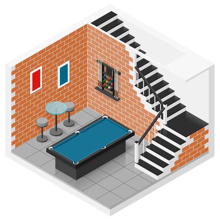 Kelderruimte in een eigen huis omgebouwd tot een biljartzaal icometric icon set vector grafische illustratie Stock Illustratie