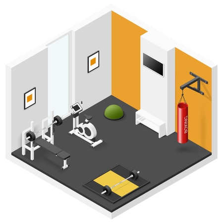 Home fitness room isometric icon set vector graphic illustration