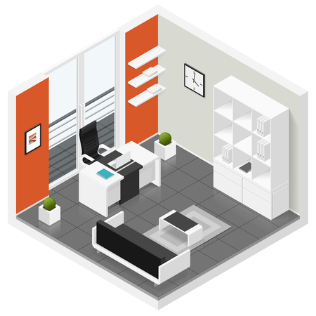 balcony door: Home offices room isometric icon set vector graphic illustration Illustration
