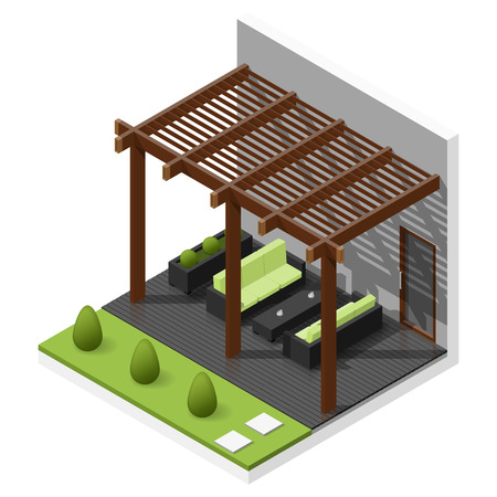 patio furniture: Inner courtyard isometric icon set vector graphic illustration