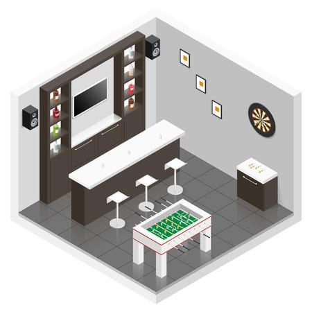 speakers desk: Lounge for men room isometric icon set graphic illustration Illustration