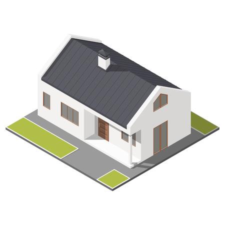 Jednokondygnacyjny dom z ikoną skos dachu izometryczny zestaw graficzną ilustrację