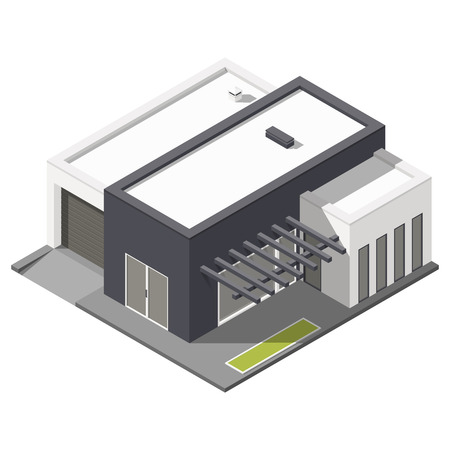 flat roof: One-storey house with flat roof isometric icon set graphic illustration