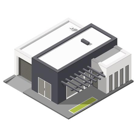 patio set: One-storey house with flat roof isometric icon set graphic illustration