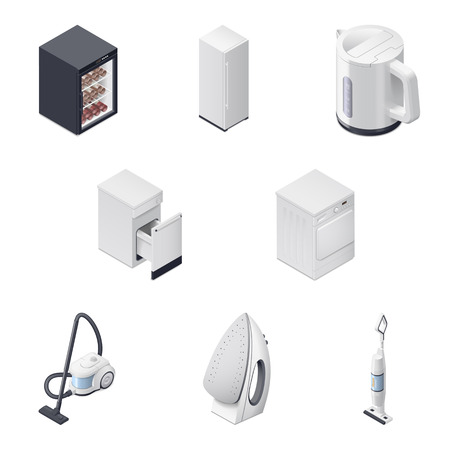 dry cleaner: Household appliances detailed isometric icons set, part 3 graphic illustration