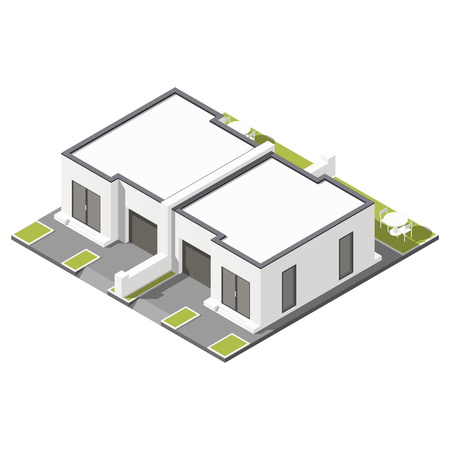 One storey connected cottage with flat roof for two families isometric icon set grpahic illustration