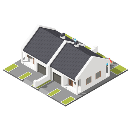 One storey connected cottage with slant roof for two families isometric icon set grpahic illustration
