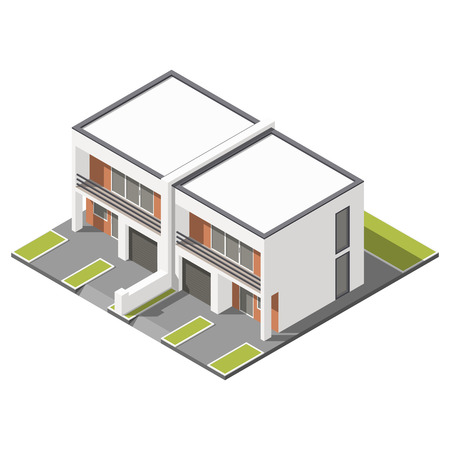 flat roof: Two story connected cottage with flat roof isometric icon set graphic