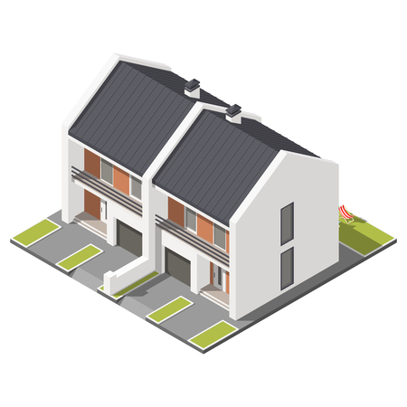 storey: One storey connected cottage with slant roof for two families isometric icon set graphic