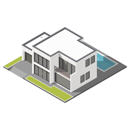 patio set: Modern two-story house with flat roof sometric icon set graphic illustration
