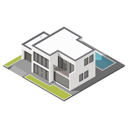 Moderne twee verdiepingen tellende huis met een plat dak sometric icon set grafische illustratie Stock Illustratie