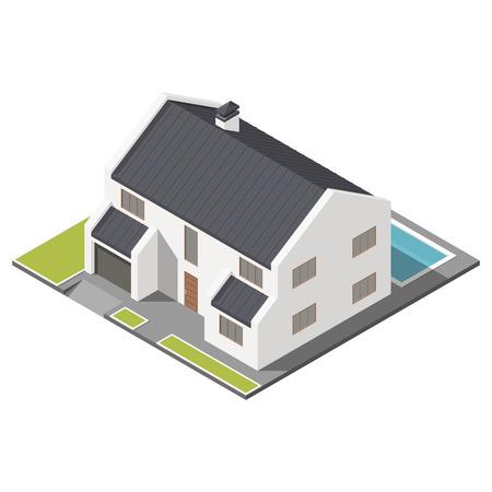 Moderne twee verdiepingen tellende huis met een schuine dak sometric icon set grafische