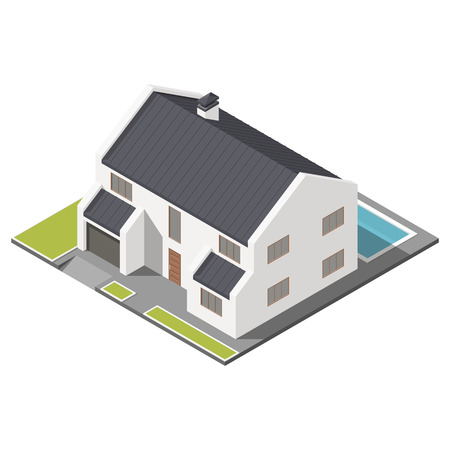 Modern two-story house with slant roof sometric icon set graphic