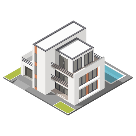 Modern three storey house with flat roof sometric icon set  graphic