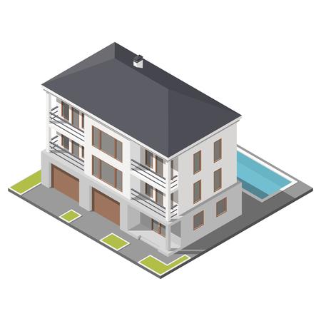 slant: Modern three storey house with slant roof sometric icon set graphic