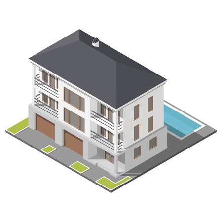 Modern three storey house with slant roof sometric icon set graphic