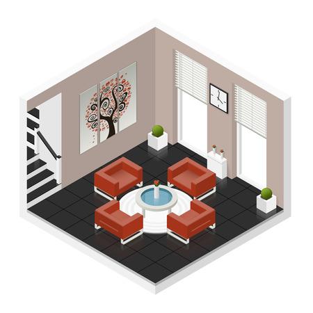 triptych: Hall room isometric icon set graphic illustration