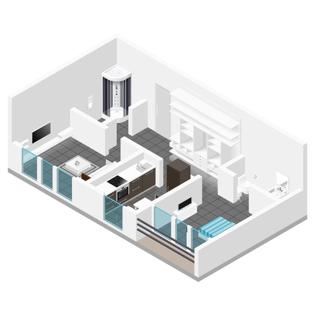 Residential apartment with balcony isometric icon set graphic illustration
