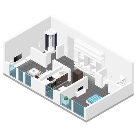 Residential apartment isometric icon set graphic illustration