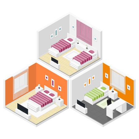 Bedrooms isometric icon set graphic illustration