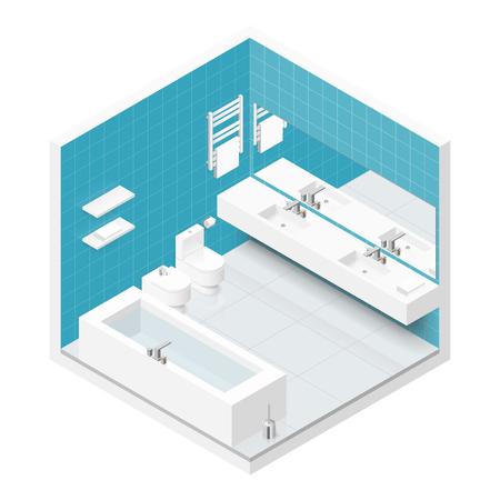 Bathroom with toilet isometric icon set graphic illustration
