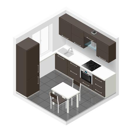 Kitchen icometric icon set graphic illustration Illustration