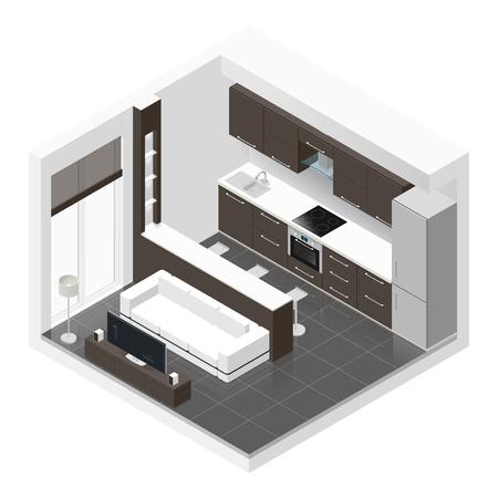 스튜디오 아파트 아이소 메트릭 아이콘 그래픽 그림을 설정