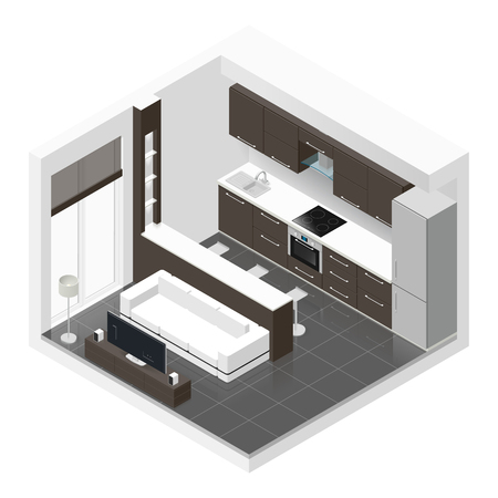 Studio apartment isometric icon set graphic illustration