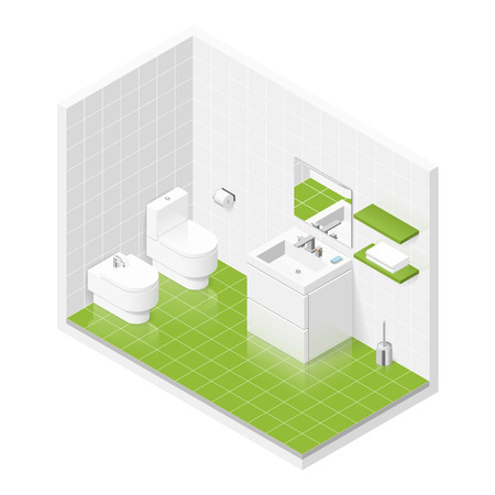 Toilet room isometric icon set graphic illustration Illustration