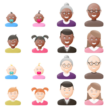 light skin: People with age groups, light and dark skin, male and female, graphic illustration