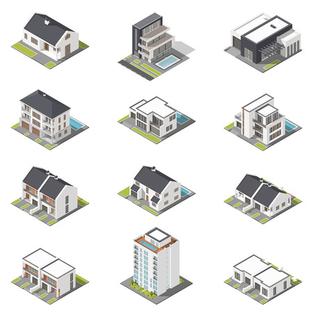 pitched roof: Different houses isometric icon set graphic illustration Illustration