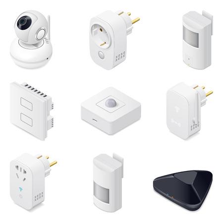 Smart home technologie apparaten icometric icon set grafische illustratie